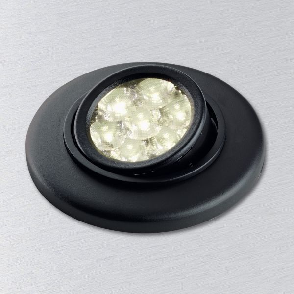 Revolving and swiveling LED spotlight in black